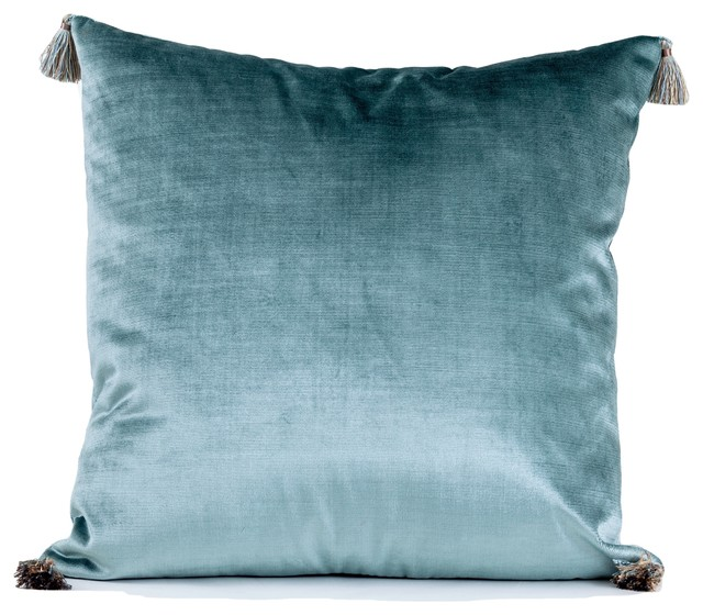 venezia tassel velvet pillow cover aqua pillow cover luxury pillow cover 18x1