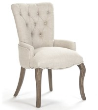 Iris Natural Linen Reclaimed Oak Tufted Vanity Dining ...