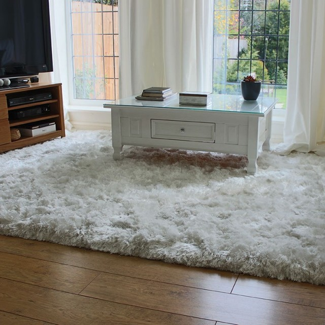 White Ultra Thick Plush Shaggy Rug  Traditional  Floor