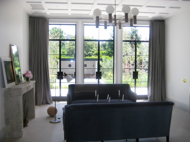 window coverings for large living room interior design ideas with tv treatments - modern los angeles ...