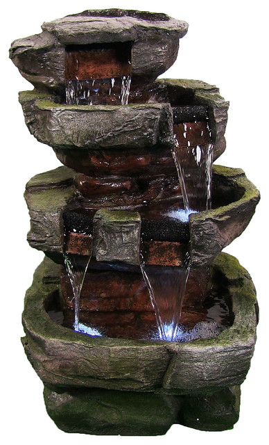 "24"" Tiered Stone Waterfall With LED Lights Traditional Outdoor"