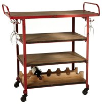 Firehouse 4-Tiered Bar Cart, Distressed Red - Farmhouse ...