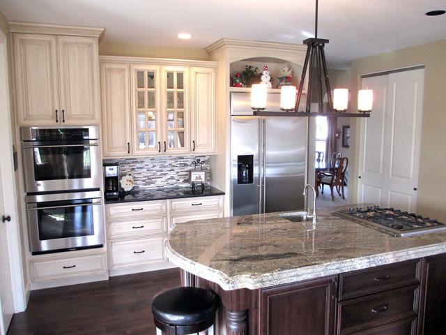 metal kitchen islands tile table cream painted cabinets with glaze - traditional ...