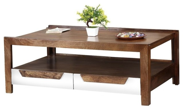 60 s retro mango wood 2 tier raised edge coffee table w drawers