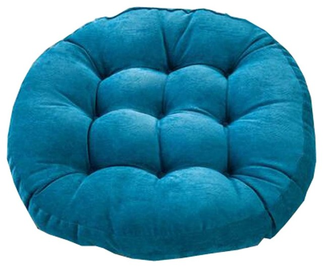 21 inch round floor pillow tufted support padded boosted cushion blue