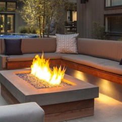 Backyard Fire Pit Chairs Chair Yoga Certification Ontario Built-in Concrete & Wood Sofa And - Modern Patio Los Angeles By Terry Design, Inc.
