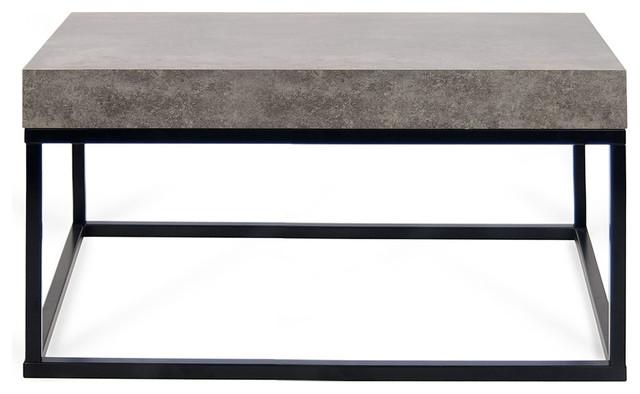 petra 30 x30 coffee table 145042 petra30 faux concrete top black legs