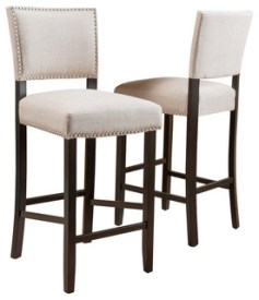 Castana Beige Fabric Backed Bar Stools, Set of 2