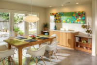 Dining area with built-in buffet cabinetry - Midcentury ...