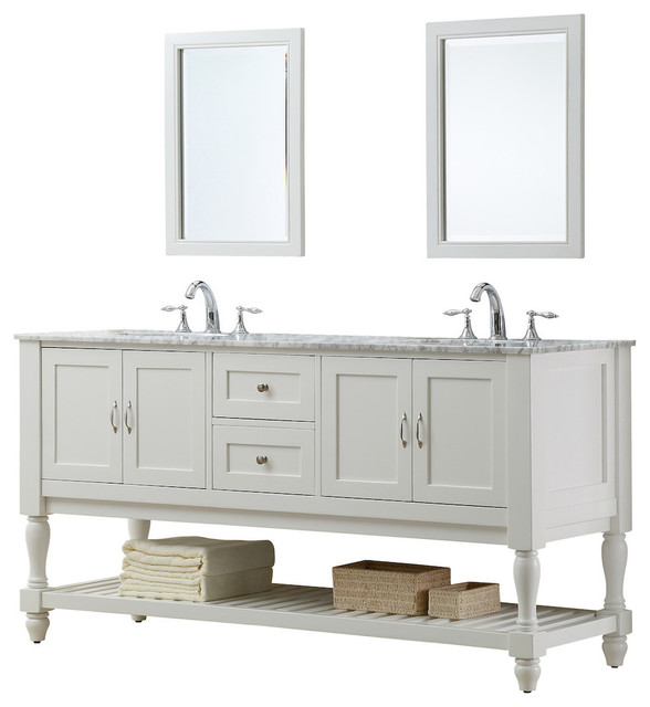 mission turnleg 70 white double vanity top carrara marble with mirror