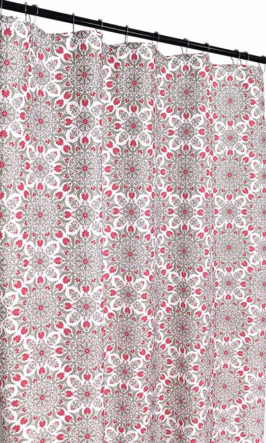 white grey hot pink fabric shower curtain medallion floral design with fringe