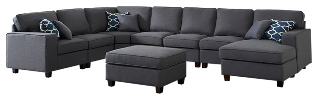 irma dark gray linen 8pc modular sectional sofa chaise and ottoman