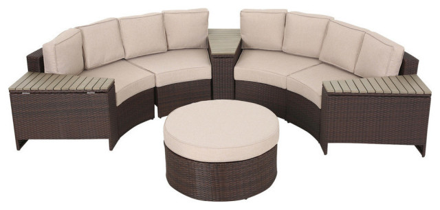mia outdoor 4 seater wicker curved sectional set with wedge tables beige round