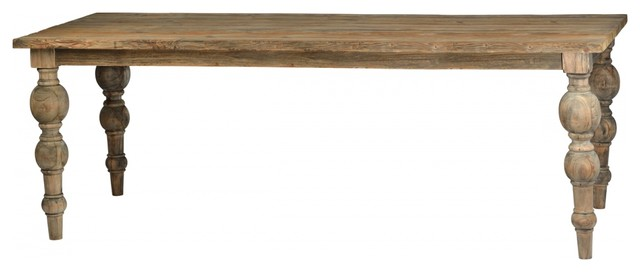 94 l omero dining table solid hardwood distressed hand turned bulbous legs