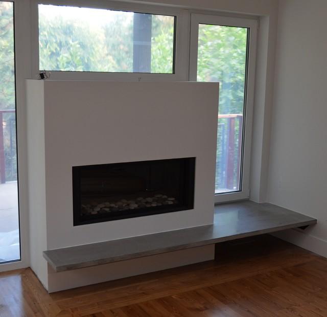 Modern Floating Concrete Fireplace Hearth  Modern