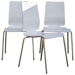 Eiffel Dining Chair With Beech Legs Erik Buck Chairs White Chrome - Set Of 4