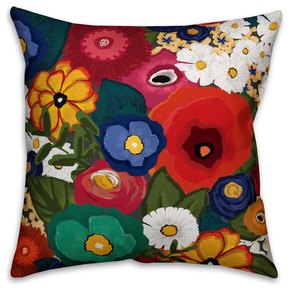 modern summer garden 18 x18 outdoor throw pillow