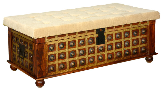 capella wood & brass everett upholstered bedroom storage trunk