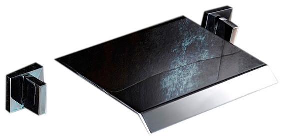 amalfi polished chrome wall mounted waterfall dual handle bathroom faucet