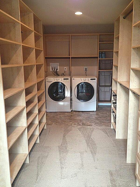 Master Closet with laundry room  Transitional  Laundry