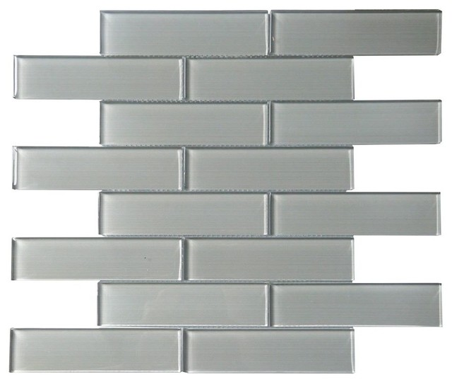 space gray linen polished glass mosaic sample