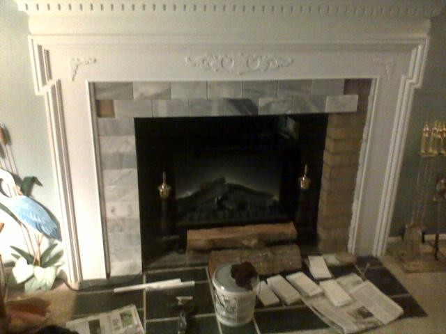 fireplace mantle cover ugly brick  Traditional  Living Room  DC Metro