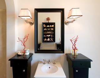 bagno, bath room, toilette_New York beach-style-powder-room
