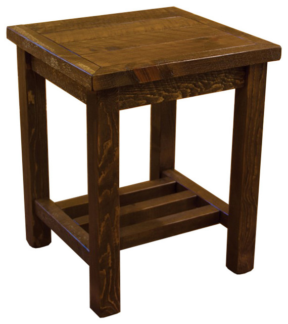 rustic barn wood style timber peg open end table