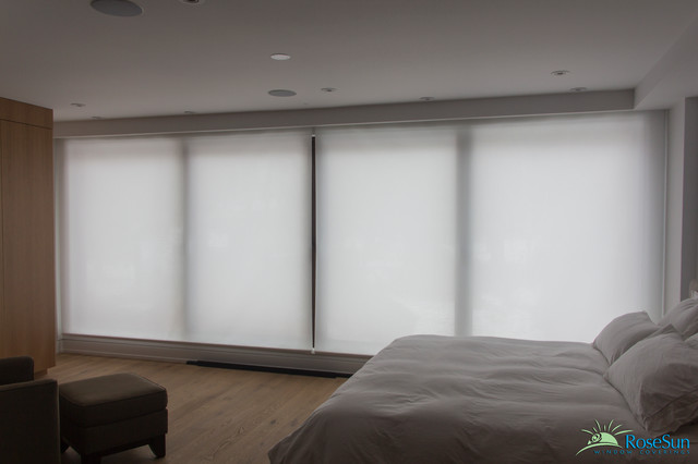 Motorized Blinds in the Bedroom  Modern  Bedroom
