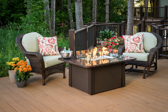 Hampton bay crossridge antique bronze finish gas fire pit. Grandstone Fire Pit Table - Deck - Other - by The Outdoor