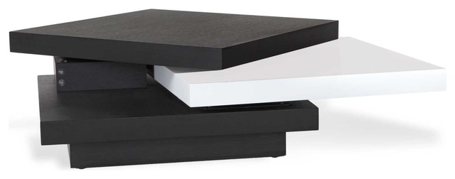 floyd black and white coffee table with rotating shelf