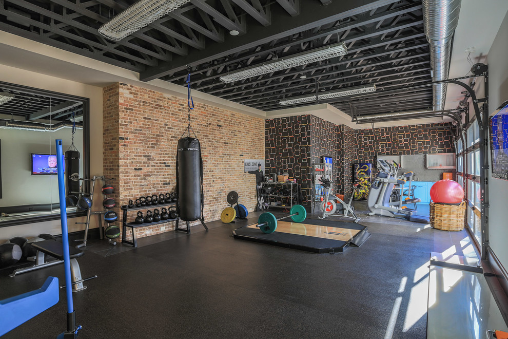 Bridge Hollow Industrial Home Gym Dallas By Platinum Homes By Mark Molthan