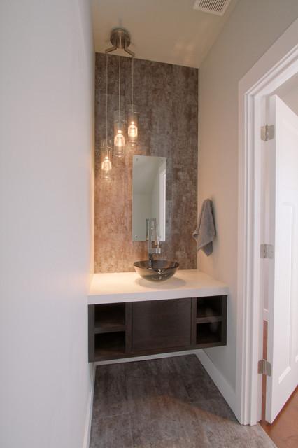 Urban Powder Room Bath with floating vanity  Modern