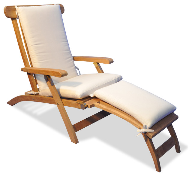 teak steamer chair french dining room chairs chaise lounge with sunbrella cushion canvas