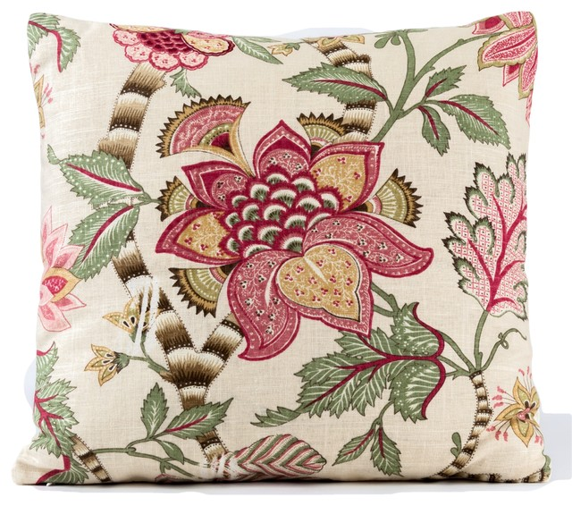 floral pillow cover green and red pillow cover jacobean pillow cover 18x18