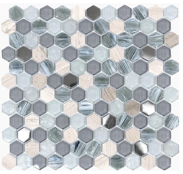 blue gray glass marble hexagon mosaic tile 12 x12