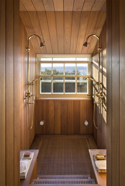 Teak Shower  Beach Style  Bathroom  New York  by Ike Kligerman Barkley