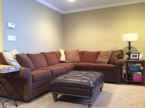 brown and beige corner sofa chestnut wall decorations above l shaped sectional couch