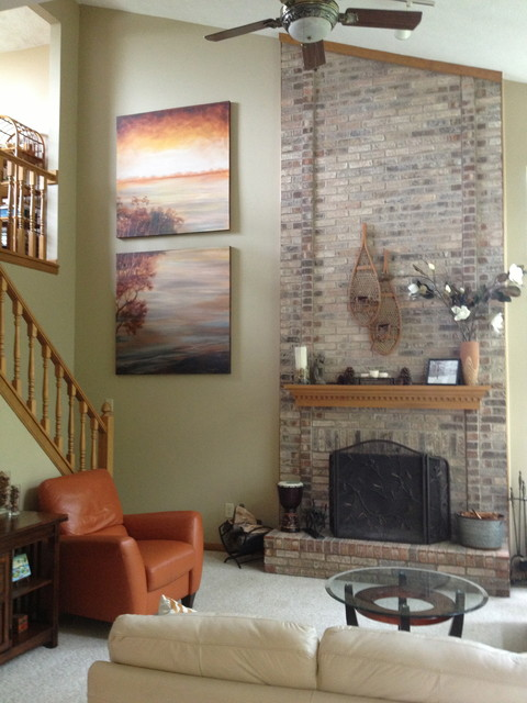 Fireplace Offset  Transitional  Family Room  Cincinnati  by Sketches An Interior View LLC