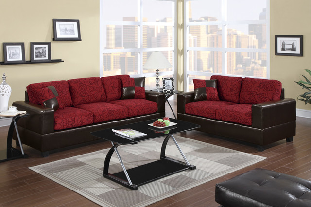 los angeles sectional sofa daybed bed modern red floral fabric couch loveseat living room ...
