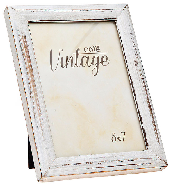 Philip Whitney 5x7 Distressed White Wood Frame Picture Frames Houzz