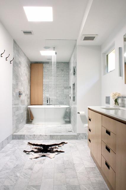 Wet Area Shower  Tub  Contemporary  Bathroom  Los Angeles  by Chen Gallagher Interior Design