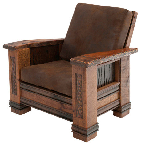 Upholstered Barn Wood Chair  Rustic  Armchairs And