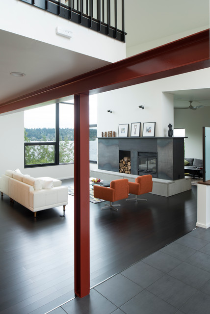 wooden beach chairs plans marble dining table and exposed steel column beam in living room - modern seattle by cast architecture