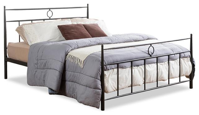 Ester Victorian Iron Metal Platform Bed, Queen
