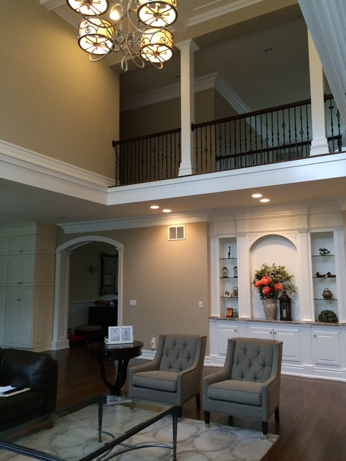 Two Story Fireplace and BuiltIn Bookshelves