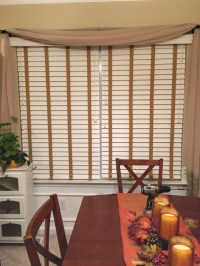 White Faux Wood Blinds with Beige Decorative Tape ...