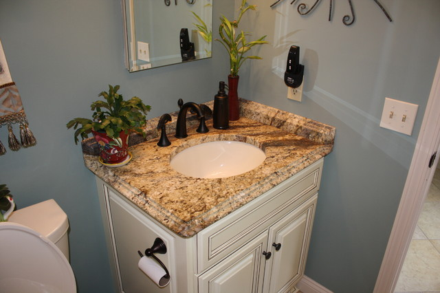 Yellow river granite counter tops  Traditional  Bathroom