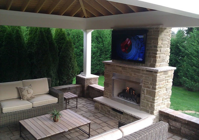 Outdoor Gas Fireplace With Television By Fine S Gas