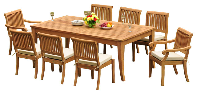 "9-Piece Outdoor Teak Dining Set, 122"" X-Large Rectangle"